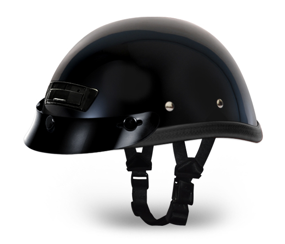 Eagle Deluxe with Air Vent And Snaps- Hi-Gloss Black | Daytona Helmets