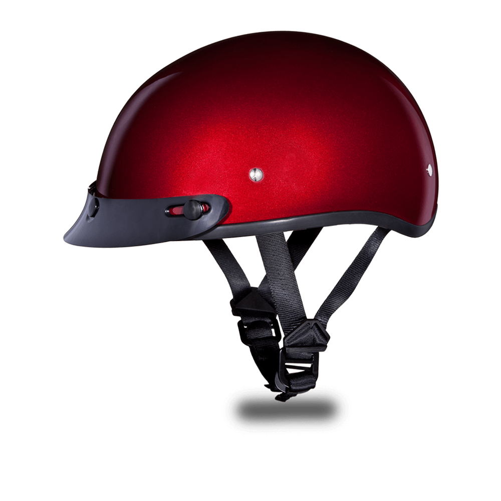 Skull Cap Motorcycle Helmets Black Cherry Metallic | Daytona 1/2 Shell