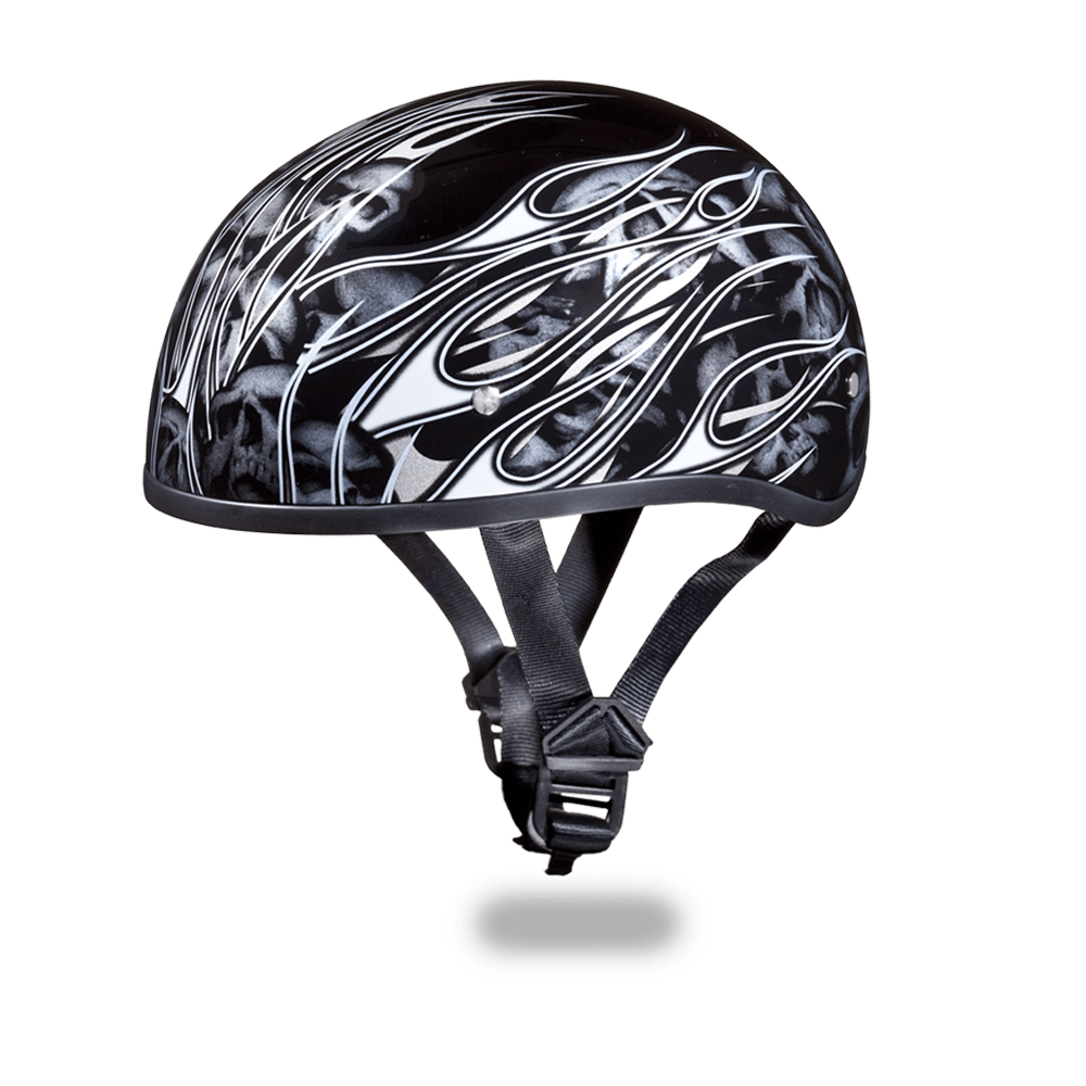 Graphic Motorcycle Helmets Multi Skull Flames Silver | D.O.T.