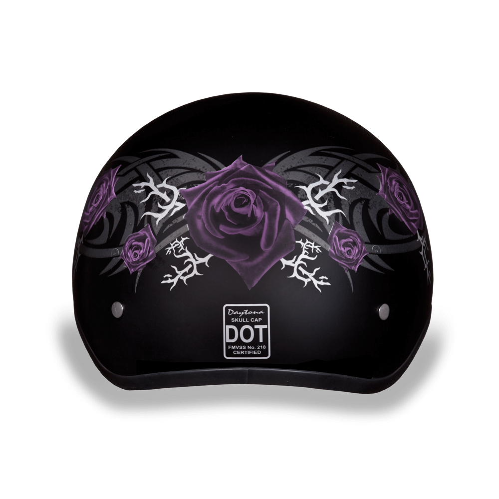 Graphic Motorcycle Helmets  Purple Rose | D.O.T. Approved