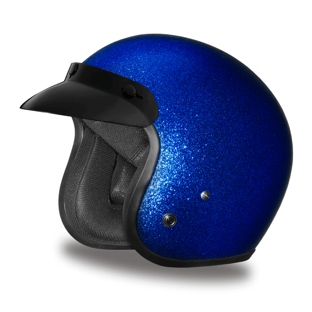 Blue Metal Flake Helmet 3 4 Shell Helmets