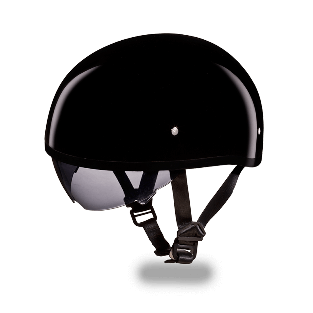 D.O.T. Daytona Skull Cap Hi - Gloss Black  Smoke Shield
