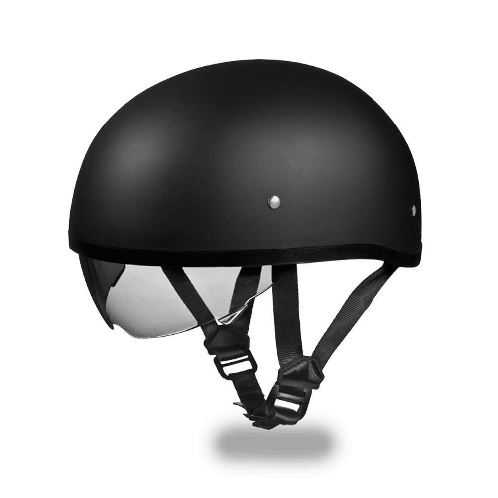 D.O.T. Daytona Skull Cap Helmet Dull Black | Smoke Shield