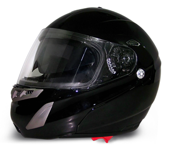 D.O.T. Daytona Edge | Hi-Gloss Black | Modular Helmets with Shield