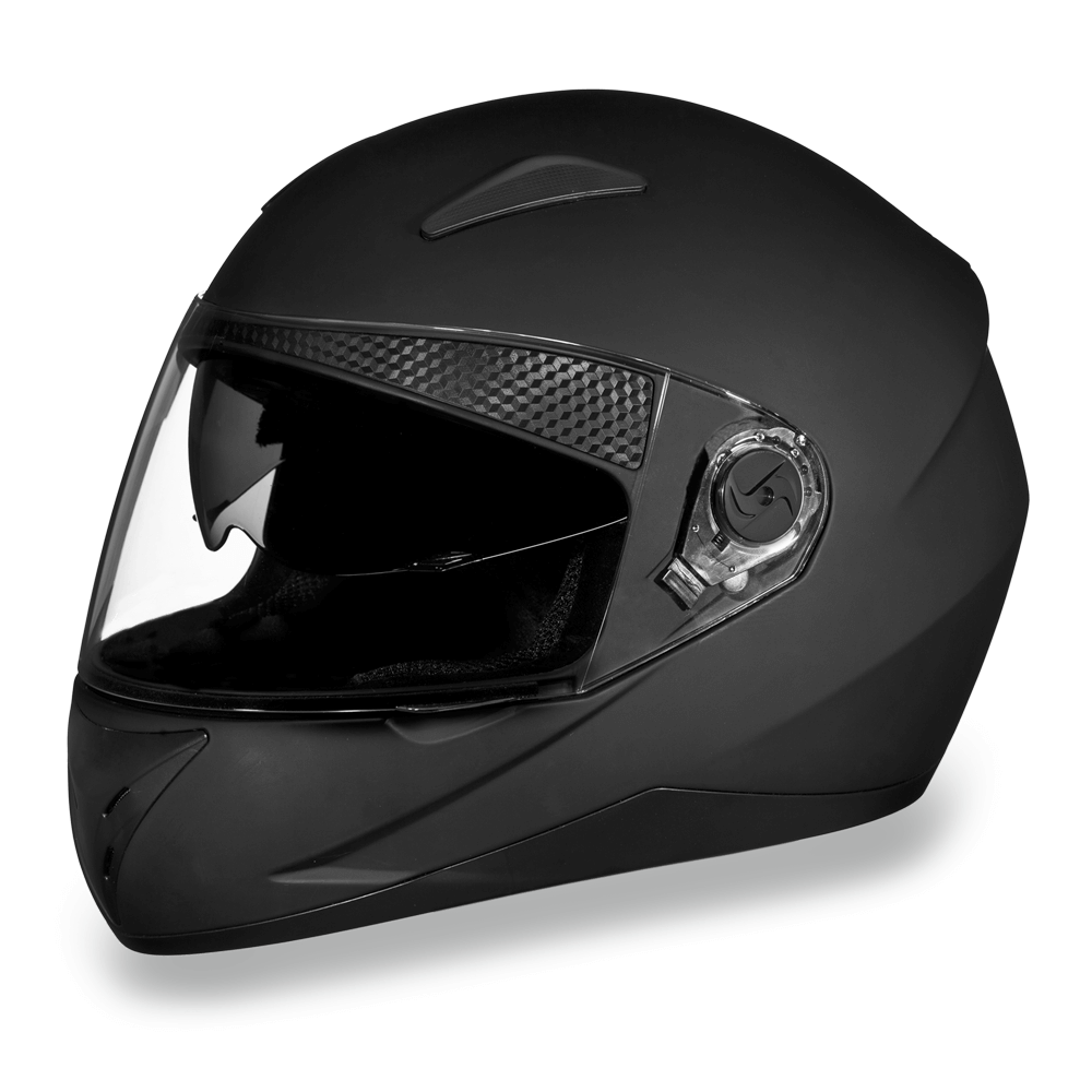 D.O.T. Daytona Shifter with Shield | Dull Black  | Full Face Motorcycle Helmet