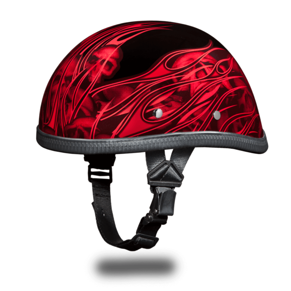 Eagle with Multi Skull Flames Red Motorcycle Helmets | Daytona Helmets