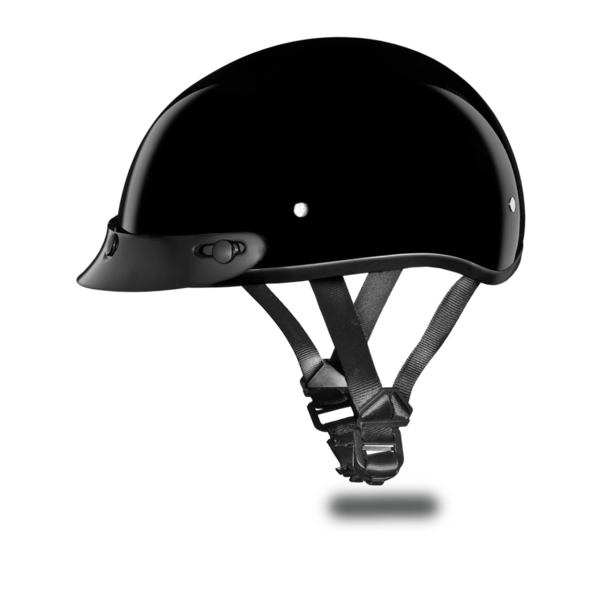 Hi-Gloss Black Skull Cap Motorcycle Helmets | D.O.T. Approved Helmet