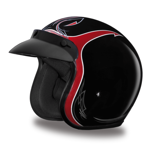 D.O.T. Approved Pinned Black Cherry Helmet | 3/4 Shell Helmets