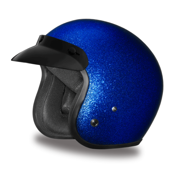 Blue Metal Flake Helmet | 3/4 Shell Helmets