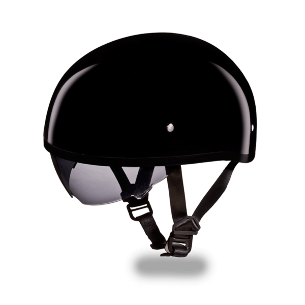 D.O.T. Daytona Skull Cap | Hi - Gloss Black  Smoke Shield | D.O.T. Approved Helmet