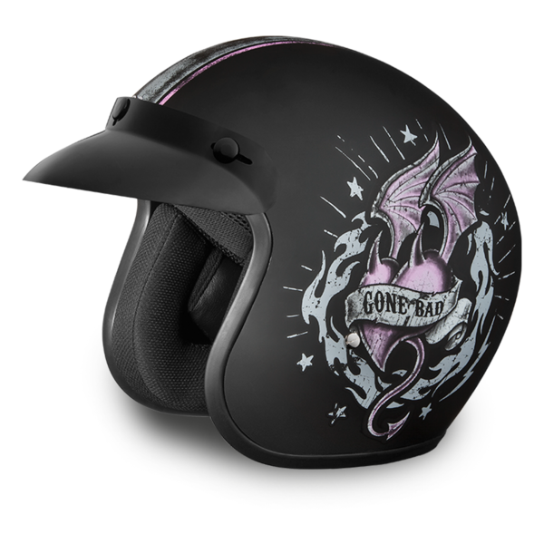 Daytona Helmets Motorcycle Open Face Helmet Cruiser- Gone Bad 100% DOT Approved