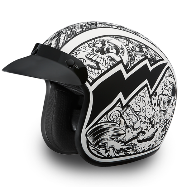 Daytona Helmets Motorcycle Open Face Helmet Cruiser- Graffiti 100% DOT Approved