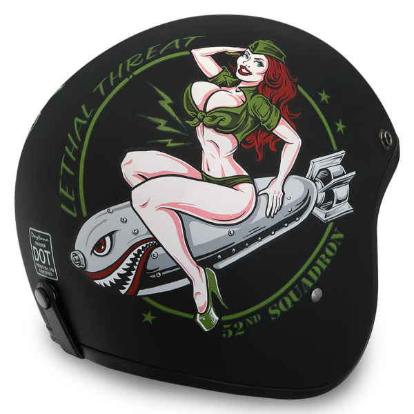 Daytona Helmets Motorcycle Open Face Helmet Cruiser- Bombs Away 100% DOT Approved