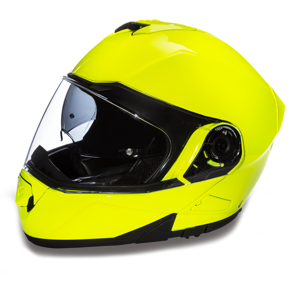 Daytona Helmets Motorcycle Modular Full Face Helmet Glide- Fluorescent Yellow 100% DOT Approved