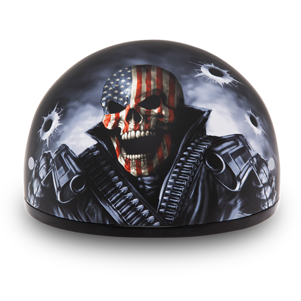 Daytona Helmets Motorcycle Half Helmet Skull Cap- Come Get 'Em 100% DOT Approved