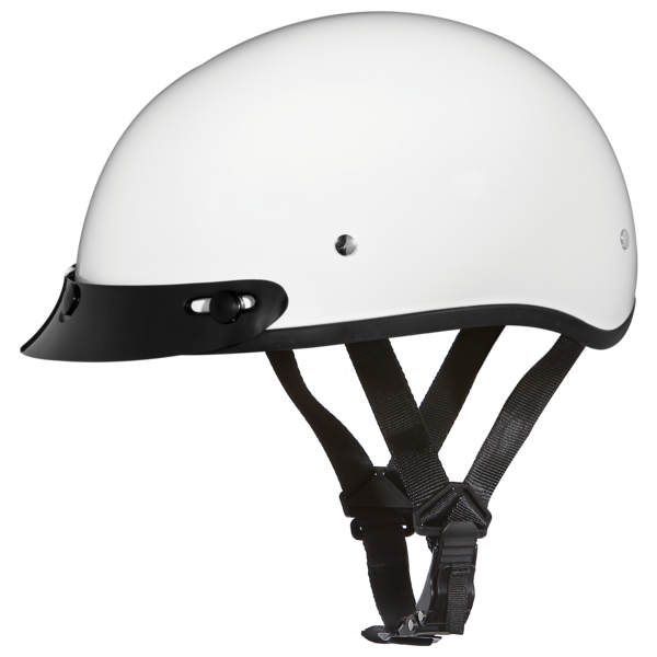 Daytona Helmets Motorcycle Half Helmet Skull Cap- Hi-Gloss White 100% DOT Approved