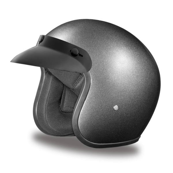 Daytona Helmets Motorcycle Open Face Helmet Cruiser- Gun Metal Grey Metallic 100% DOT Approved