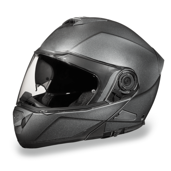 Bluetooth Gun Metal Grey Metallic Modular Helmets | D.O.T. Approved Helmet