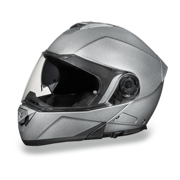 Daytona Helmets Motorcycle Modular Full Face Helmet Glide- Silver Metallic 100% DOT Approved