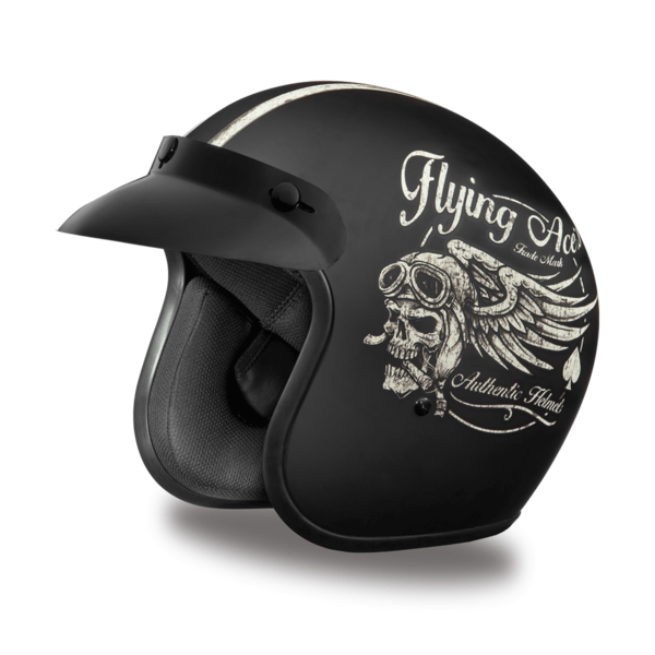 Daytona Helmets Motorcycle Open Face Helmet Cruiser- Flying Ace's 100% DOT Approved