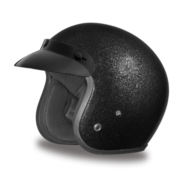 Black Metal Flake Helmet  | 3/4 Shell Helmets
