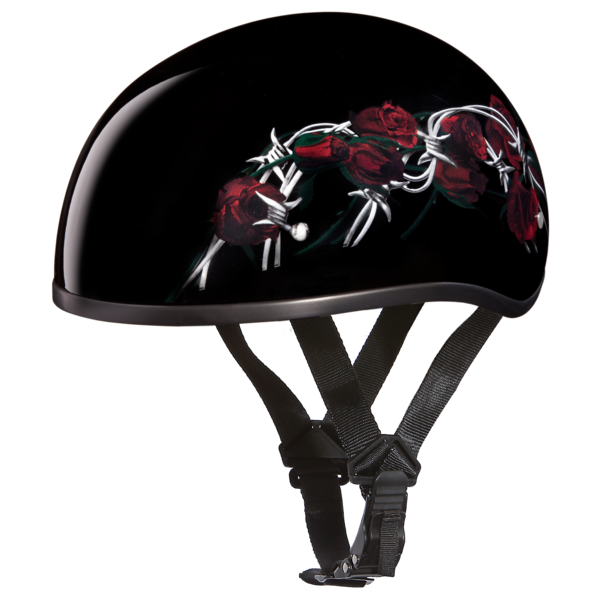 Graphic Motorcycle Helmets Barbed Roses | D.O.T. Approved Helmet