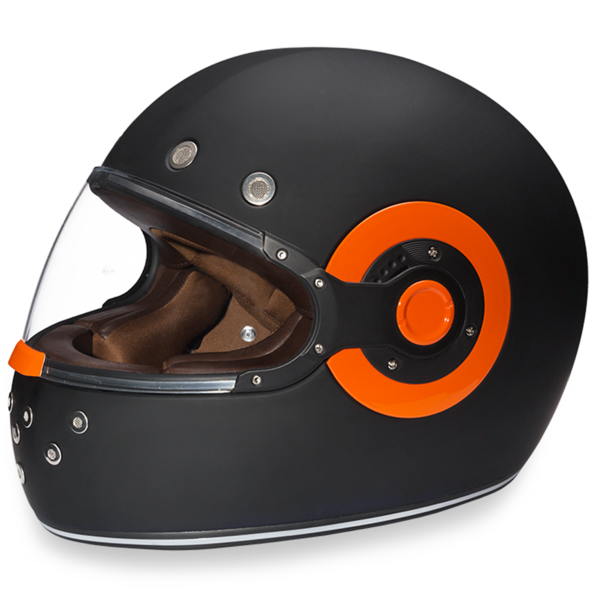 Daytona Helmets Motorcycle Full Face Helmet Retro- Dull Black W/Orange Accents 100% DOT Approved