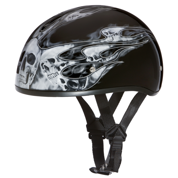 b3c6ca9215a Graphic Motorcycle Helmets Skull Flames Silver