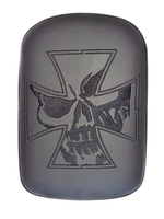 PHANTOM- LARGE SOLID EMBROIDERY VINYL IRON CROSS SKULL BLACK