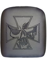 GHOUL- X-LARGE SOLID EMBROIDERY VINYL IRON CROSS SKULL BLACK