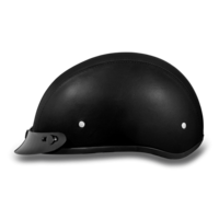 Skull Cap Motorcycle Helmet Leather Covered | D.O.T. Daytona
