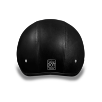 D.O.T. Daytona Skull Cap without Visor Leather Covered Motorcycle Helmet