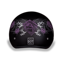 D.O.T. DAYTONA SKULL CAP- W/ PURPLE ROSE