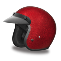 Cruiser Red Metal Flake Helmet | 3/4 Shell Helmets