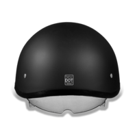 D.O.T. Daytona Skull Cap Helmet |  Dull Black Smoke Shield