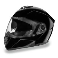 D.O.T. Daytona Glide | Hi-Gloss Black | Modular Helmets with Shield