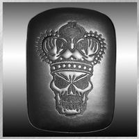 PHANTOM- LARGE SOLID EMBROIDERY VINYL CROWN SKULL BLACK