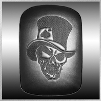 PHANTOM- LARGE SOLID EMBROIDERY VINYL TOP HAT SKULL BLACK